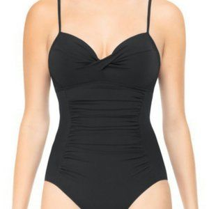 Assests by Spanks Black One Piece Ruched Swimsuit